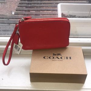 Coach wristlet bag. Bright red. NEW WITH TAGS/BOX